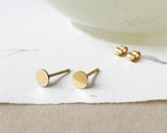 Small gold circle studs -14k gold filled tiny dot stud earrings - round earrings - simple flat circle - minimalist - gold dots studs