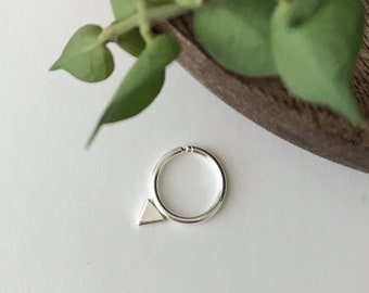 Septum ring with triangle - real or fake septum ring - sterling silver triangle - nose ring - body jewelry - piercing - geometric jewelry