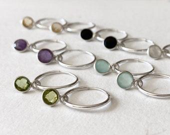 Gemstone hoop earrings - sterling silver endless hoops - faceted tiny gemstone charm - convertible earrings - simple dainty hoop earrings
