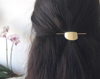 9aab59a007353 Half moon gold hair accessory - minimalist barrette - brass hair clip -  geometric barrette - hair pin - gold hair slide - semi circle -
