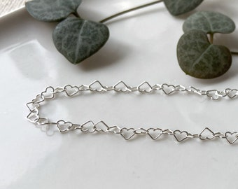 Hearts Anklet - adjustable sterling silver dainty ankle bracelet - hearts silver chain - minimalist delicate anklet - dainty light chain
