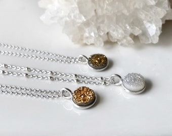 Druzy agate necklace - small druzy circle gemstone pendant - sterling silver chain - gold white or bronze druzy sparkly pendant stone