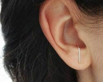 Suspender earrings - sterling silver or 14k gold filled suspender - J earrings - ear hangers - curved studs - ear suspenders - edgy earrings