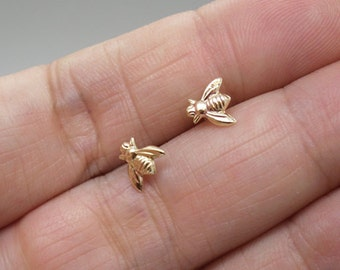 Bee earrings - Tiny bumble bee stud earrings - your choice or raw brass, 14k gold filled, sterling silver or solid gold - tiny queen bee