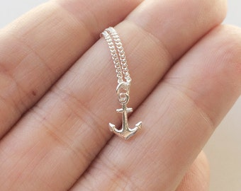 Tiny anchor necklace - tiny anchor in sterling silver - dainty necklace - silver 925 - silver anchor pendant