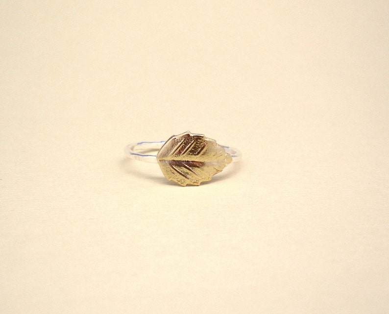 gold leaf Leaf ring skinny and dainty ring delicate silver 925 band sterling silver and tiny gold brass leaf ring stacking ring