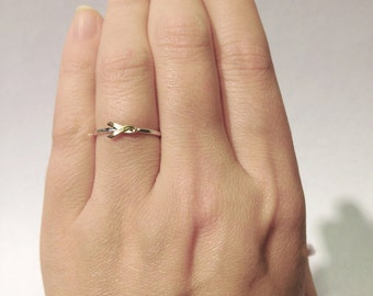 Awareness ribbon ring - Sterling silver and tiny gold brass ribbon ring - stacking ring - knuckle ring - midi ring