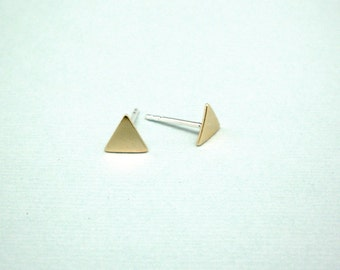 Triangle studs - Triangle  earrings - Tiny gold brass triangles studs earrings with sterling silver posts