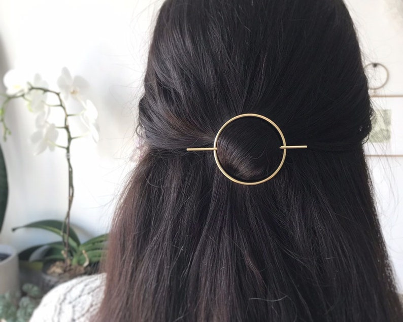 Minimalist gold hair accessories  brass hair clip  gold hair image 0