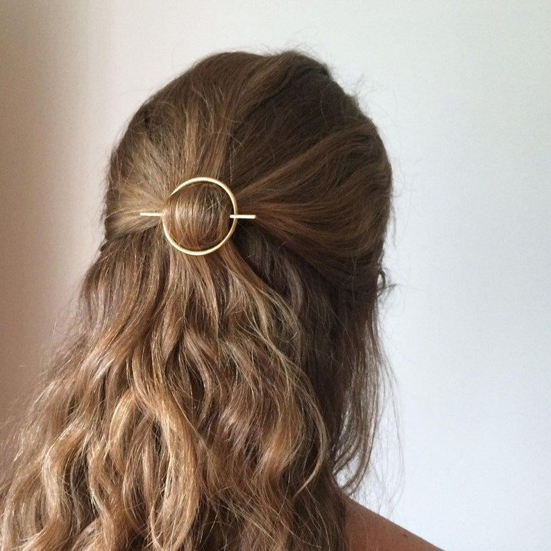 Minimalist gold hair accessories  brass hair clip  round image 0