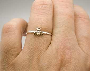 Tiny bee ring - Sterling silver and tiny gold brass bee ring - layering ring - stacking ring - knuckle ring - midi ring