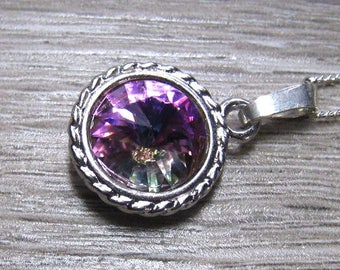 Light Vitrail Rivoli Necklace,  Swarovski Rainbow Crystal,  Silver Setting, Rainbow Colors Crystal Pendant