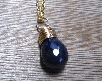 Gold Sapphire Necklace, Navy Blue Sapphire Natural Stone Pendant, September Birthstone Jewelry, 14K Gold Filled