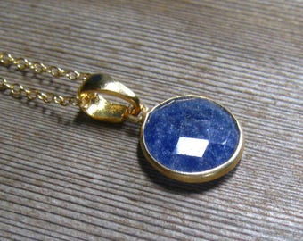 Round Sapphire Necklace, Bezel Set In 24 K Gold Vermeil, September Birthstone Jewelry, Gold Filled Chain, Royal Blue Sapphire Natural Stone