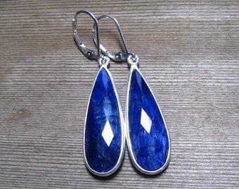 Sterling Silver Sapphire Earrings, Bezel Set Natural Sapphire, Navy Blue, September Birthstone Jewelry, Large Sapphire Earrings