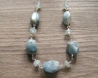 Aquamarine Nugget Necklace, Sterling Silver, March Birthstone, Raw Natural Stones, Aquamarine Jewelry