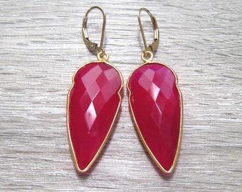 Pink Tourmaline Earrings, 24K Gold Vermeil Bezel Set, Long Gemstone Earrings, October Birthstone Jewelry,  Arrowhead Shape