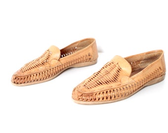 mens size 8 1/2 LEATHER tan 80s WOVEN slip on loafers made in BRAZIL