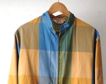 vintage MID CENTURY modern classic faded plaid SAILING summer spring oxford men's jacket