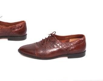 mens size 9.5 GIORGIO BRUTINI oxblood leather 80s OXFORD slip on loafers