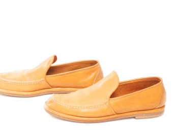 mens size 9 LEATHER tan 80s slip on vintage oxford LOAFERS