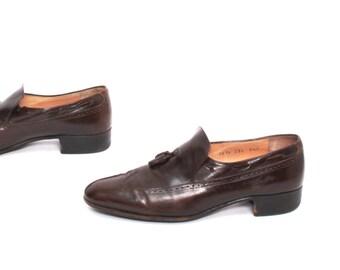 mens size 9.5 OXFORD oxblood leather 80s FERRAGAMO tassel toe slip on loafers