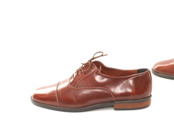 mens size 9 OXFORD brown leather 80's WINGTIP made in ITALY vintage designer classic elegant flats