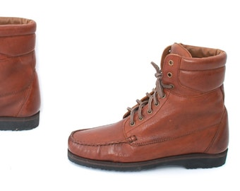 vintage mens size 8.5 HIKING brown leather RUSTIC 80s WORK lace up boots