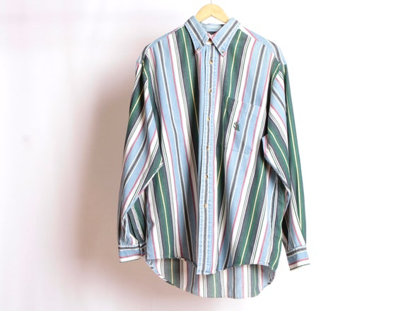 6a4a641dae7e8 GRUNGE vintage long sleeve COLOR block oxford 90s flannel cotton striped  button up shirt men's fresh prince 90s -- size xl