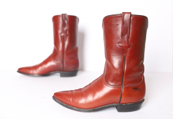 mens size 8.5 D SOUTHWEST brown & black leather 60's 70s cowboy boots mid calf western boots