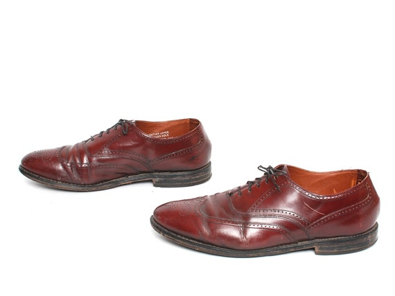 mens size 10 OXFORD oxblood leather 80's WINGTIPS