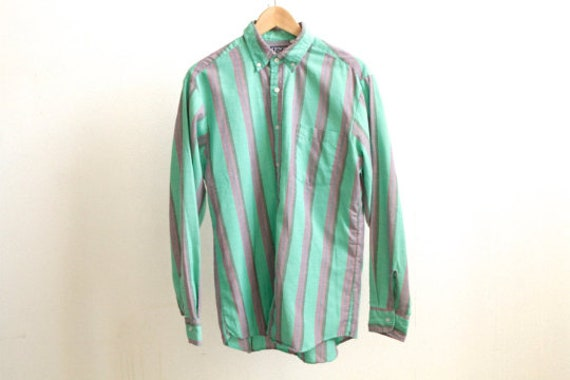 cafebf2f4344c GRUNGE vintage short sleeve COLOR block oxford 90s COTTON striped button up  shirt men's size small oxford