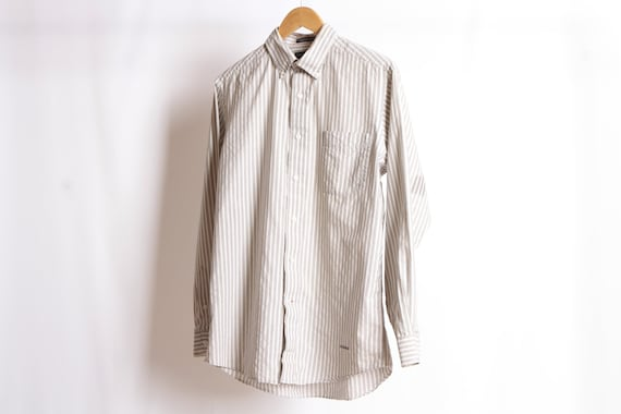 fd75466a69f06 grey and white GRUNGE vintage short sleeve COLOR block oxford 90s COTTON  striped button up shirt men's size medium oxford