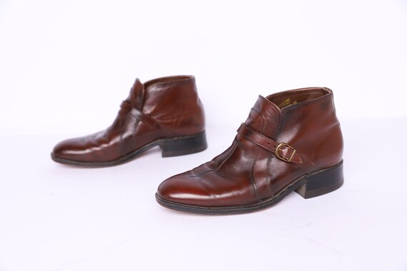 mens size 8.5 vintage BROWN leather WESTERN chelse