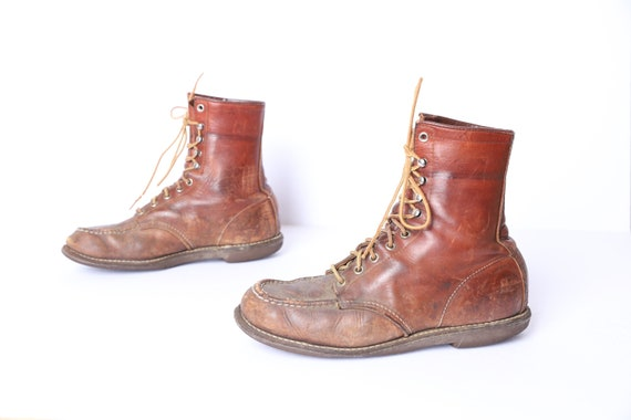 mens size 8 RED WING brown leather 60s 70s HERITAG