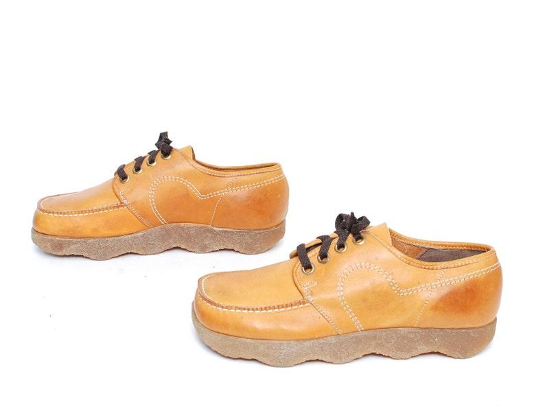 6d169643c6d94 GRUNGE boots mens CHUNKY grunge tan leather vintage SIZE 9 wavy soles mens  vintage shoes