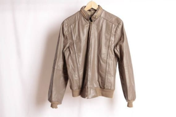 90s grey/beige LEATHER Seinfeld twin PEAKS brown B