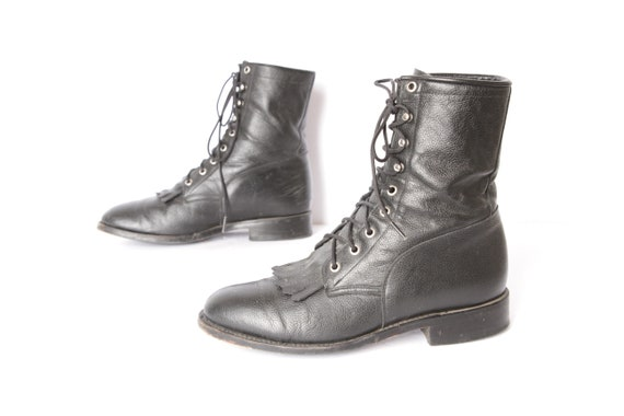 e6bf80e60f698 mens size 8.5 black Justin style COMBAT work wear boots leather 90's men's  boots