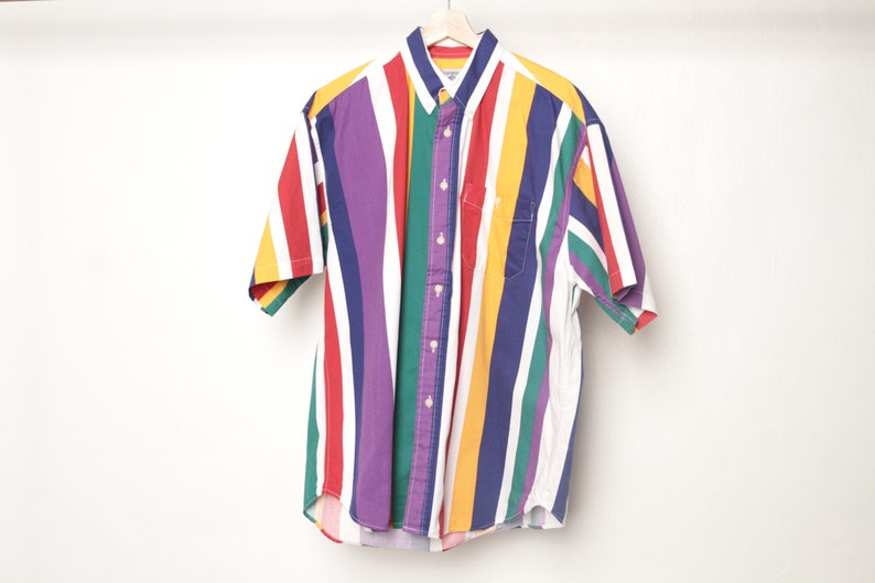 aab7594f2f2e1 vintage short sleeve COLOR block oxford 90s COTTON striped button up shirt  men's size large oxford with wild family patch on back