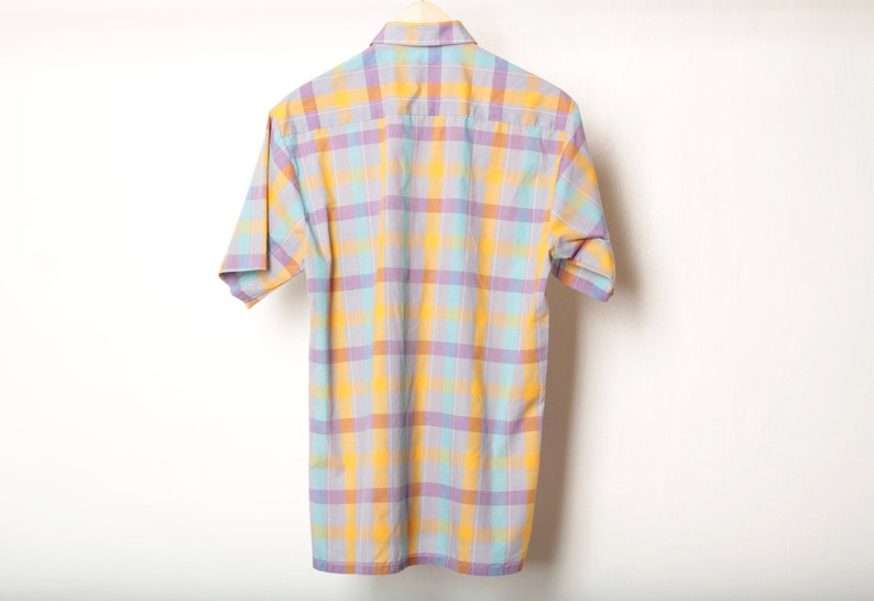 vintage yellow /& PURPLE PLAID short sleeve 90s does 60s SUMMER button up shirt size medium