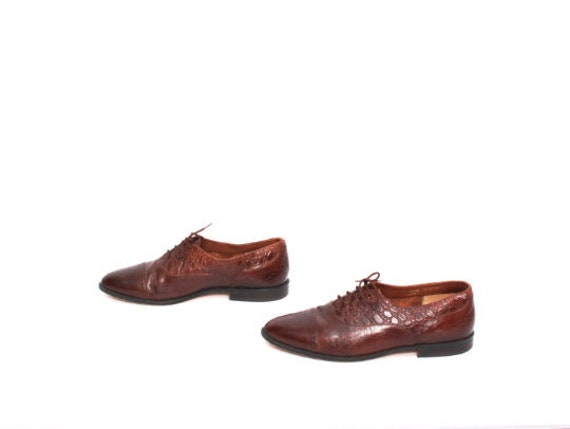mens size 9.5 OXFORD brown leather 1980's WINGTIPS