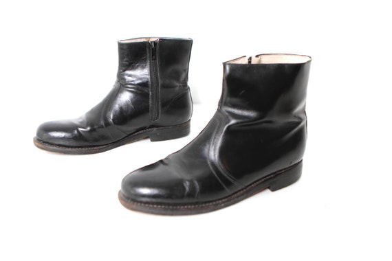 black CHELSEA leather boots BEATLE mens ankle zipper size 9D CLASSIC FwqIEC1fx