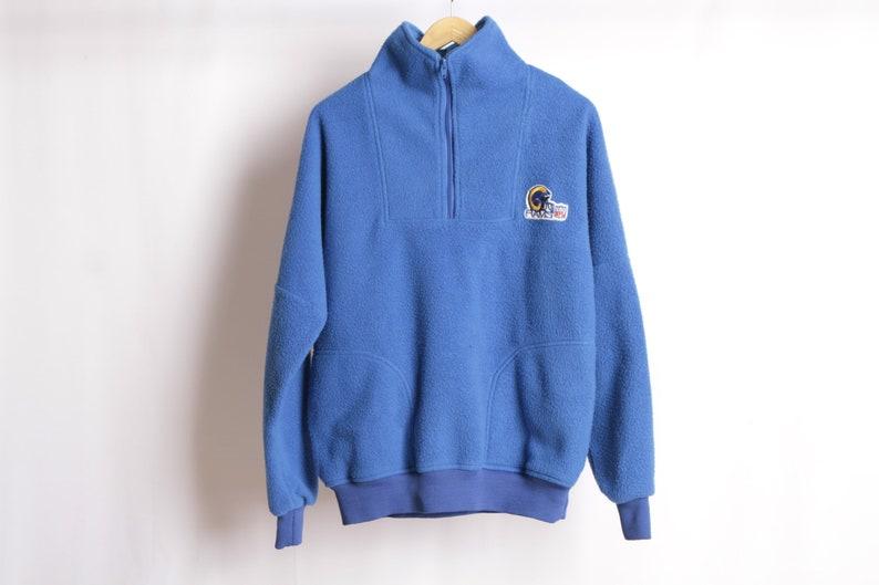 59aebae2 vintage LOS ANGELES RAMS vintage 1990s football blue fleece sweatshirt  jacket coat -- size medium