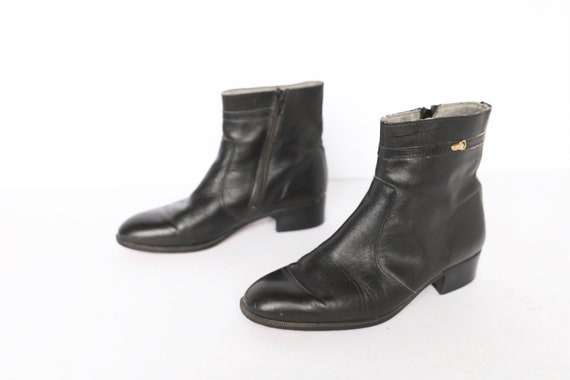mens size 8.5 BEATLE black leather 1970s CLASSIC z