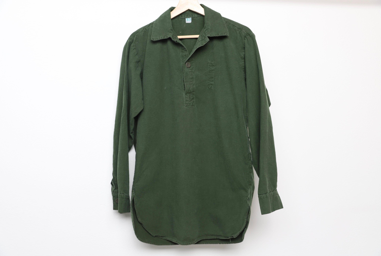 1960s – 70s Men's Ties | Skinny Ties, Slim Ties Vintage Military 1960S 70S Solid Color Army Green Henley Shirt Long Sleeve Size Medium $38.00 AT vintagedancer.com