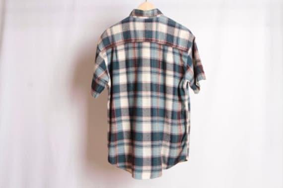 size medium vintage COLOR block FLANNEL grunge sweatshirt contrast toggle 1990s kurt cobain flannel button up united arab emerites