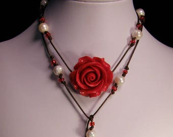 Tricadna Shell carved deep red Rose Pendant on  Lariat neck cord, White fresh water pearls