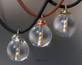 Natural Crystal Quartz stone mustard seed pendant
