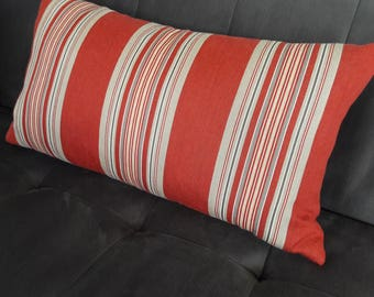 BRICK RED AWNING Stripe Pillow Cover 24 x 14