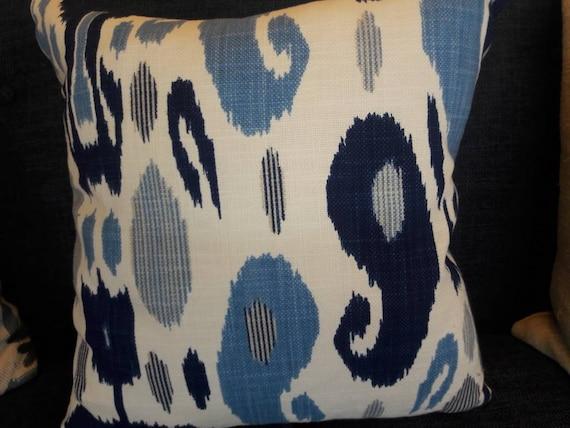 Fazil Blue Ikat John Robshaw Fabric Pillow Cover